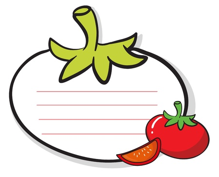 Illustration of a tomato designed stationery on a white background Vector