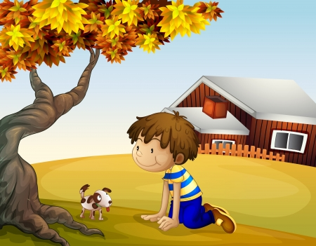 hilltop: Illustration of a boy and his puppy under the tree Illustration