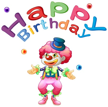 Illustration of a happy birthday template with a clown on a white background Vector