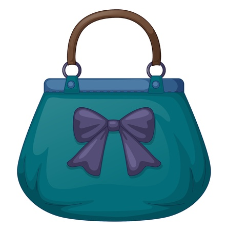 Illustration of a blue handbag with ribbon on white background Vector