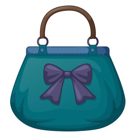 purple ribbon: Illustration of a blue handbag with ribbon on white background