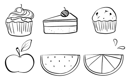 Illustration of the doodle sets of different foods on a white background