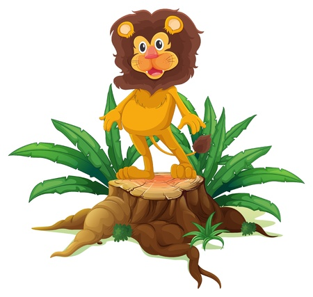 Illustration of a lion standing on a stump with leaves on a white background  Vector