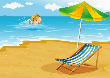 sun bed: Illustration of a girl swimming at the beach with a chair and an umbrella at the shore