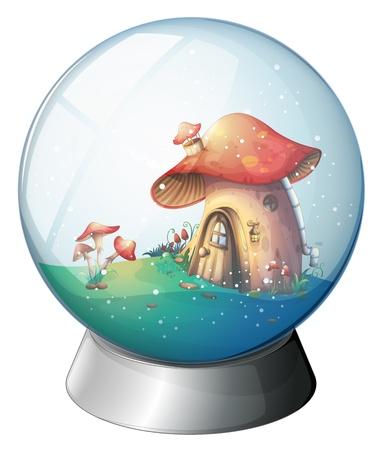 champignon magique: Illustration d'une boule magique avec une maison champignon sur un fond blanc