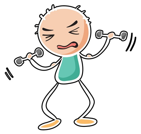 tiresome: Illustration of a man exercising on a white background Illustration