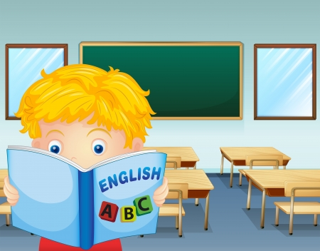 Illustration of a kid reading inside the classroom Vector