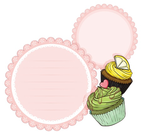 pinkish: Illustration of an empty stationery with cupcakes on a white background Illustration