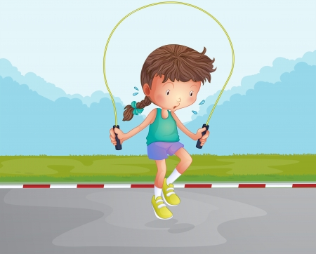 Illustration of a little girl playing jumping rope at the road Vector