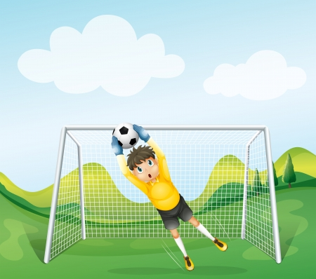 Illustration of a boy catching the soccer ball Vector