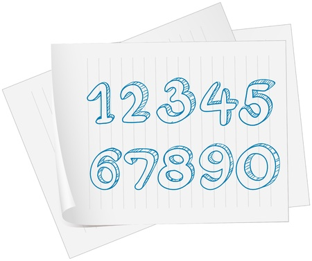 Illustration of a paper with a drawing of numbers on a white background Vector