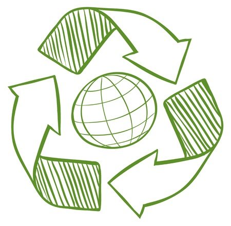 reusing: Illustration of a globe surrounded by recycling signs on a white background