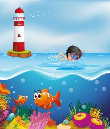 Illustratie van een jongen zwemmen op het strand bij de vuurtoren Stock Illustratie