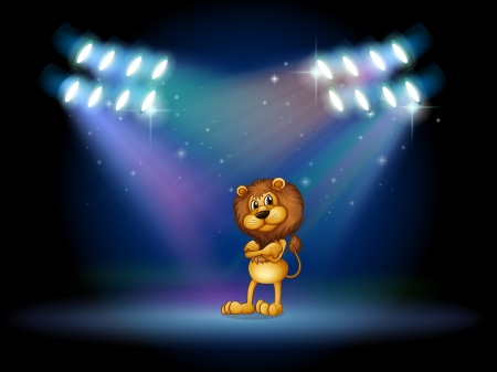 performing: Illustration of a lion standing at the stage with spotlights