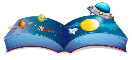 jetplane: Illustration of a book with an image of a spaceship and planets on a white background