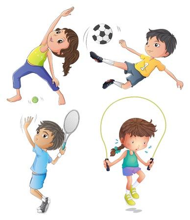 Illustration des deux jeunes filles exerçant et deux jeunes garçons jouant sur un fond blanc Vecteurs