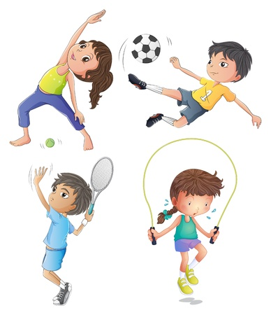 Illustration of the two young girls exercising and two young boys playing on a white background Vector