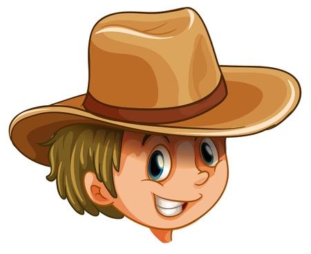 모자: 흰색 배경에 어린 소년의 머리의 그림