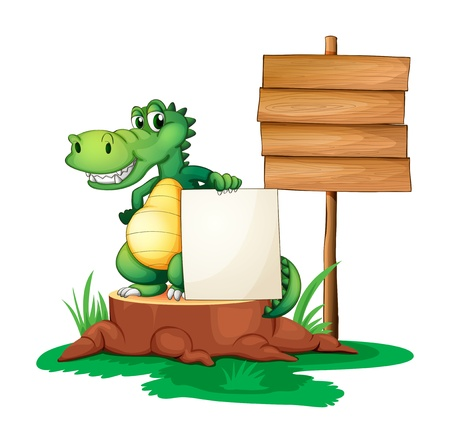 sliced tree: Illustration of a crocodile beside the empty signages on a white background