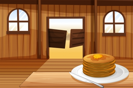 melaware: Illustration of a plate with pancakes