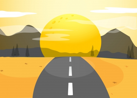 desert road: Illustration of a narrow road and a sunset view