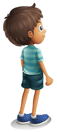Illustration of a back view of a young boy on a white background Vector