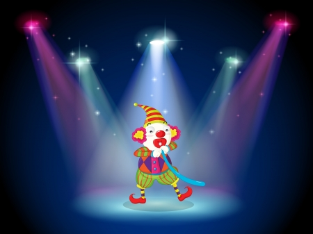 centerstage: Illustration of a clown at the stage with spotlights