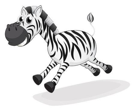 cebra: lllustration de una cebra que se ejecuta en un fondo blanco