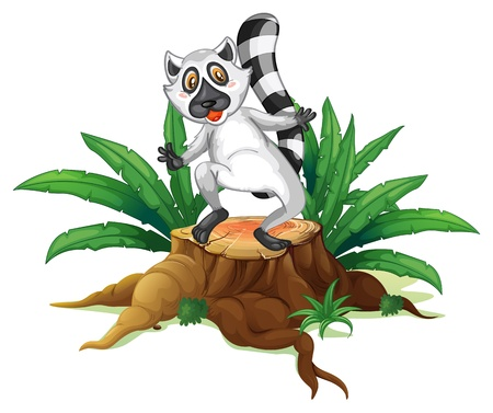 Illustration of a playful lemur above the wood on a white background Stock Vector - 19390004