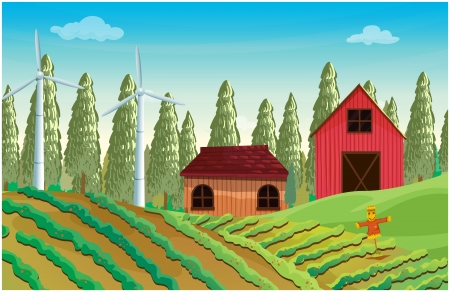 manmade: Illustration of a farm with windmills and two wooden houses