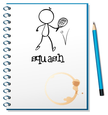 Illustration of a notebook with a drawing of a person playing table tennis on a white background  Vector