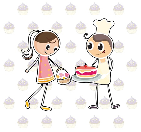 inlove: Illustration of a girl with a basket of flowers and a boy with a cake on a white background