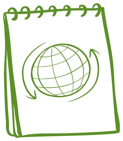 Illustration of a green notebook with a drawing of a globe at the cover page on a white background  Vector