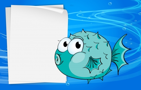 sea creature: Illustration of a fish beside a paper under the sea