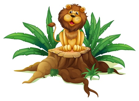 Illustration of a  lion sitting on a stump with leaves on a white background Stock Vector - 19389996