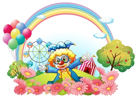 Illustration of a clown in the garden at the hill on a white background Vector