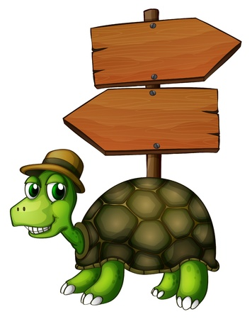 Illustration of a turtle under an empty arrowboard  on a white background Vector
