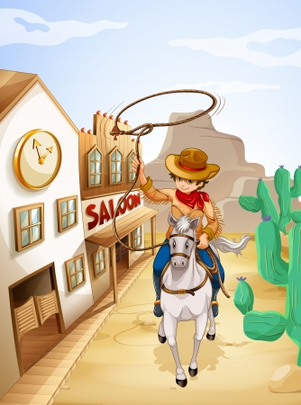 Illustration of a cowboy riding in a horse holding a rope Vector