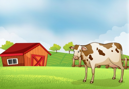 farm house: Illustration of a cow in the farm with a barn house