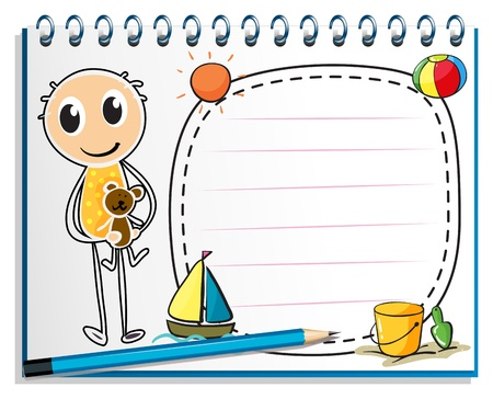 Illustration of a notebook with an image of a boy holding a toy on a white background Vector