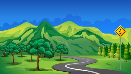 Illustration of a curve road going to the mountain Vector