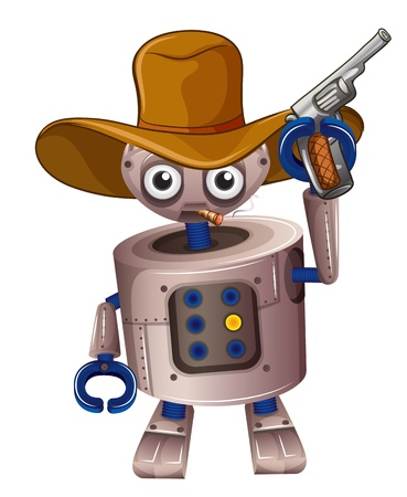 Illustration of a toy robot holding a gun on a white background  Vector