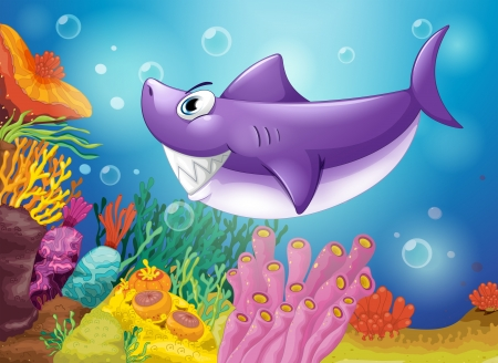 jelly fish: Illustration of a smiling violet shark under the sea