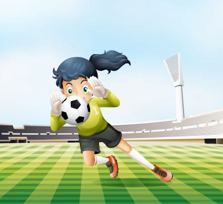 Illustration of the female player catching the soccer ball Vector