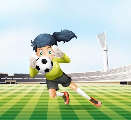 female soccer: Illustration of the female player catching the soccer ball Illustration