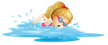 meisje zwemmen: Illustratie van een jong meisje zwemmen op een witte achtergrond