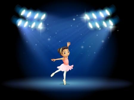 Illustration of a little girl dancing ballet with spotlights Vector