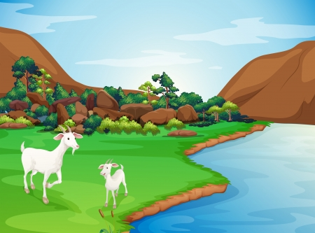 cloud formation: Illustration of the two goats at the riverbank Illustration
