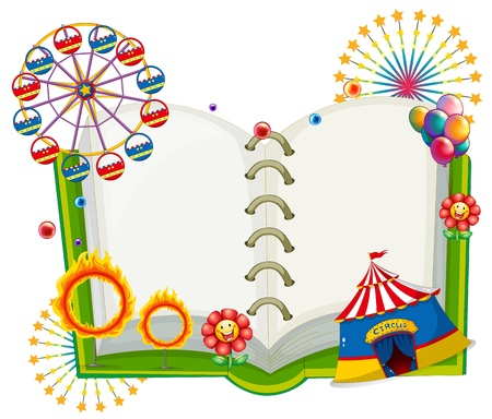 Illustration of an empty book with the things found at the carnival on a white background Vector