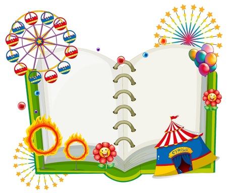 juggling: Ilustraci�n de un libro vac�o con las cosas que se encuentran en el carnaval en un fondo blanco Vectores